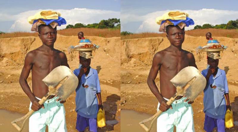 ダイヤモンド採掘をする男の子